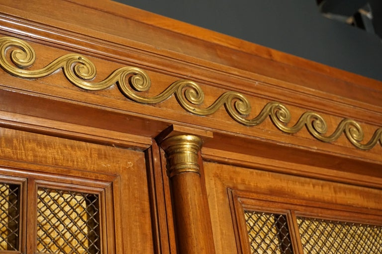 Bronze Rare and Magnificent Neoclassical Mahogany Bibliotheque Bookcase For Sale