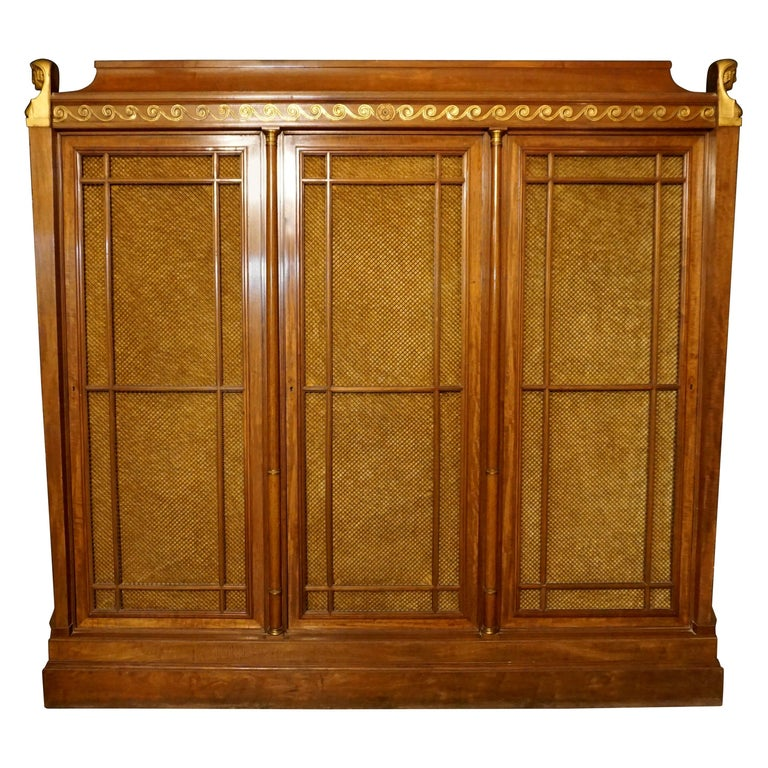 Rare and Magnificent Neoclassical Mahogany Bibliotheque Bookcase For Sale