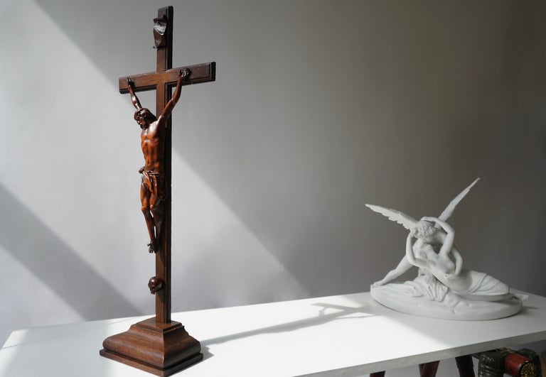 Gothic Rare and Remarkable Corpus Christi on a Decorated Wooden Cross with a Skull For Sale