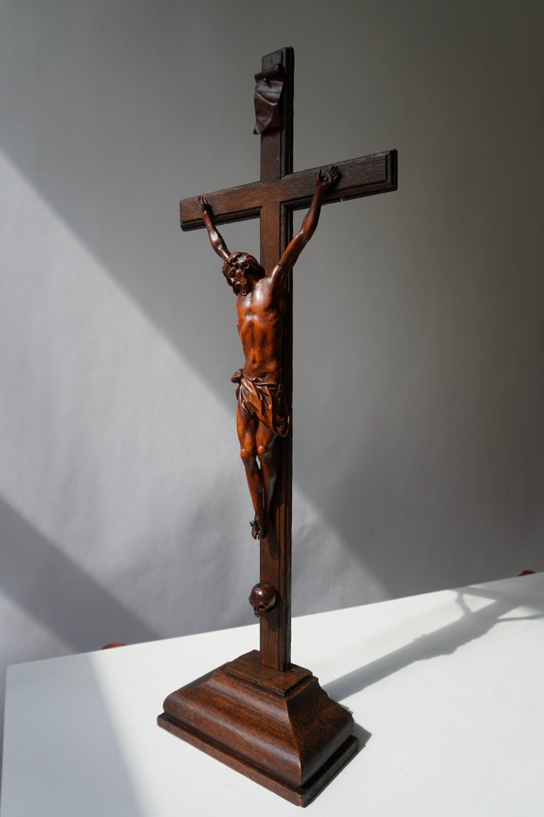 Hand-Carved Rare and Remarkable Corpus Christi on a Decorated Wooden Cross with a Skull For Sale