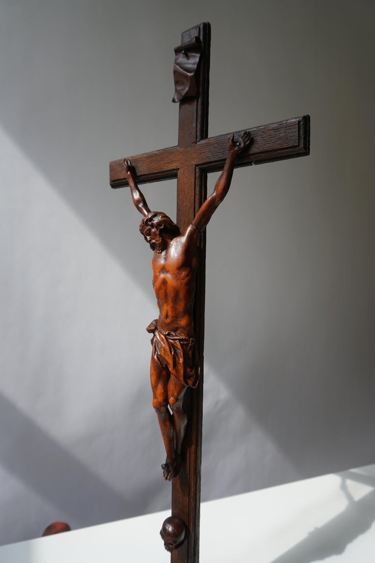 19th Century Rare and Remarkable Corpus Christi on a Decorated Wooden Cross with a Skull For Sale