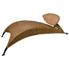 Rare and Sculptural Natural Wicker Chaise Lounge Chair