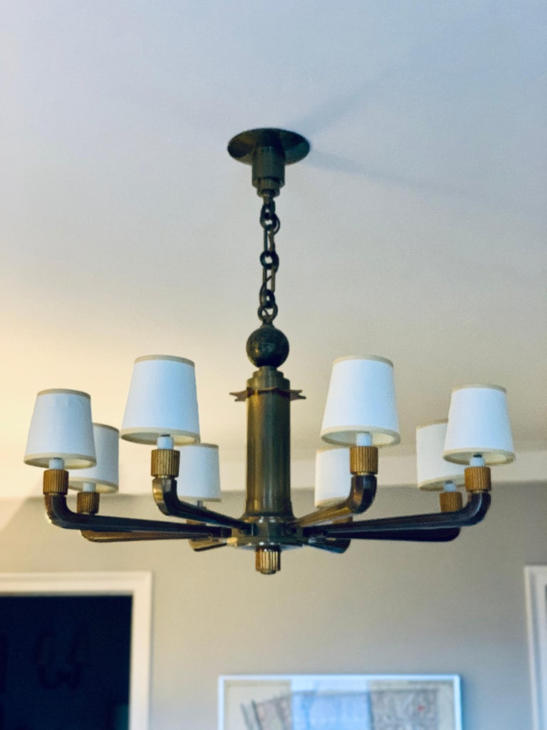 Art Deco Rare and Stately French Bronze 8-Arm Bank Chandelier For Sale