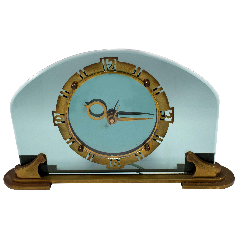 Rare and Stunning Bem Ltd Art Deco Glass, Brass Electric Mantle Clock