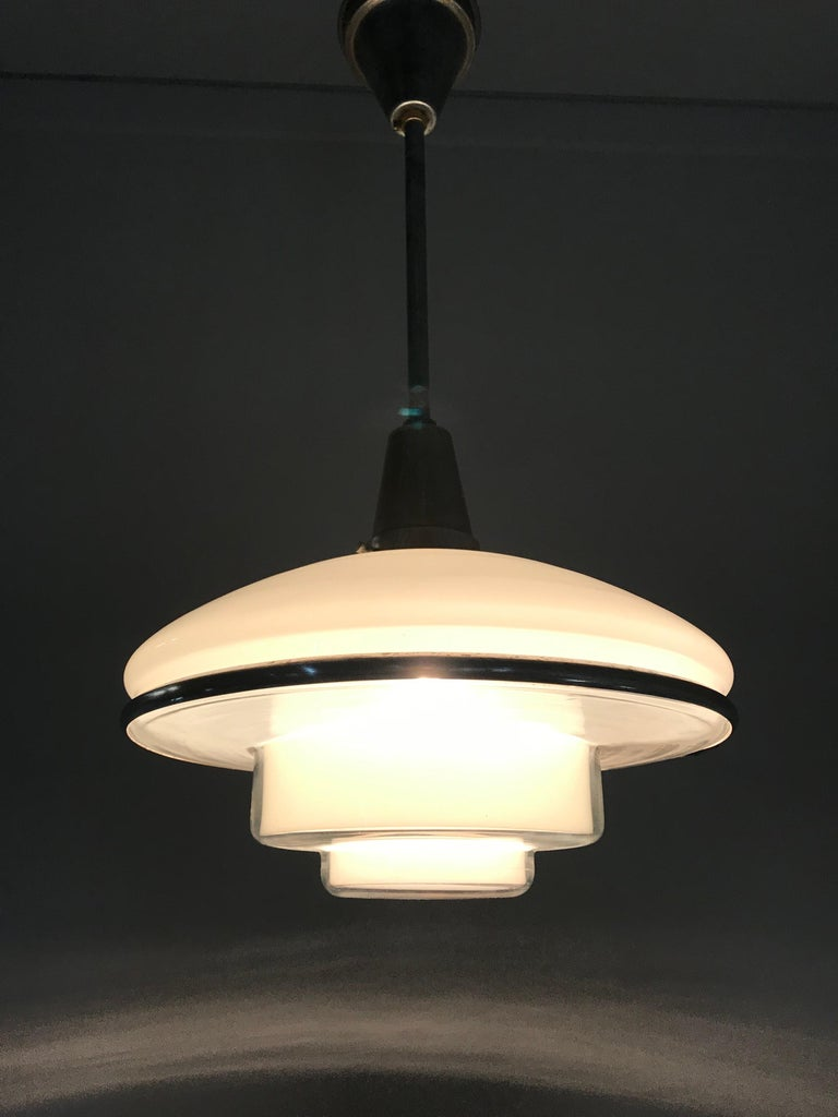 Rare and Stylish 1920s Art Deco Opaline, Transparent Glass & Brass Pendant Light For Sale 7