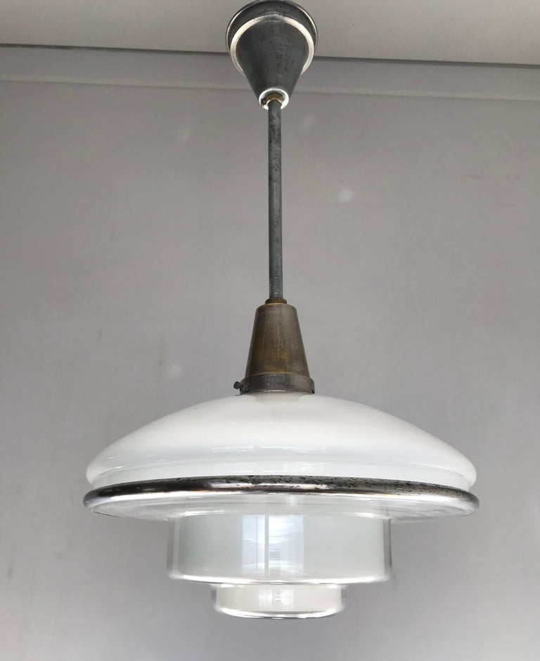 Rare and Stylish 1920s Art Deco Opaline, Transparent Glass & Brass Pendant Light For Sale 9