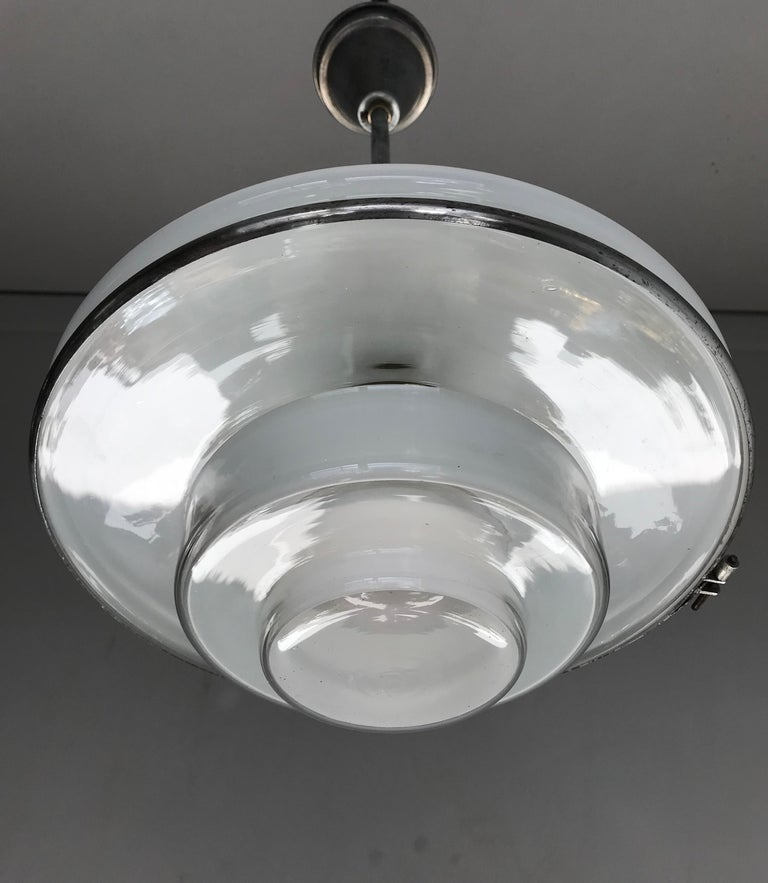 Rare and Stylish 1920s Art Deco Opaline, Transparent Glass & Brass Pendant Light For Sale 10