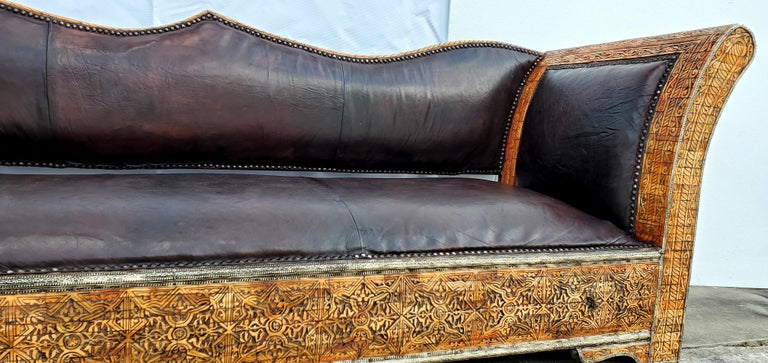 Rare and Unique Morocan Leather Sofa or Bench For Sale 5