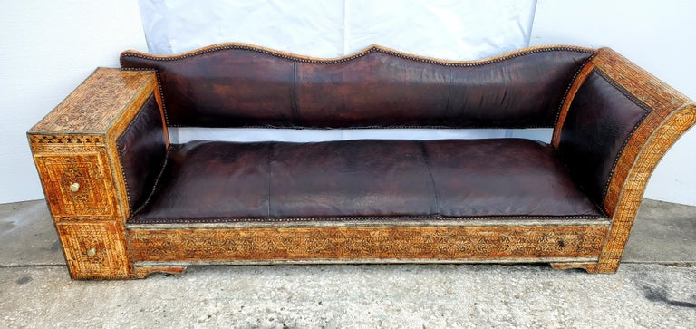 Rare and Unique Moroccan Leather Sofa or Bench In Excellent Condition For Sale In West Palm Beach, FL