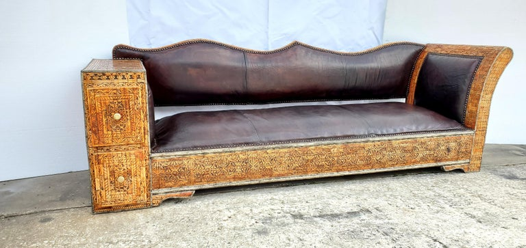 20th Century Rare and Unique Moroccan Leather Sofa or Bench For Sale