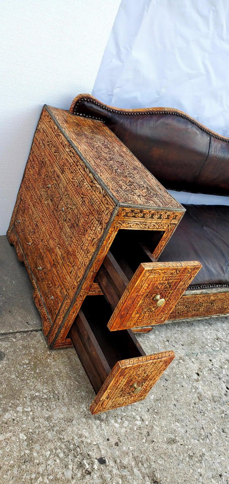 Bone Rare and Unique Moroccan Leather Sofa or Bench For Sale