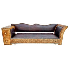 Rare and Unique Morocan Leather Sofa or Bench