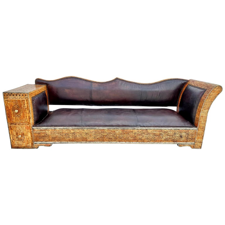 Rare and Unique Moroccan Leather Sofa or Bench For Sale