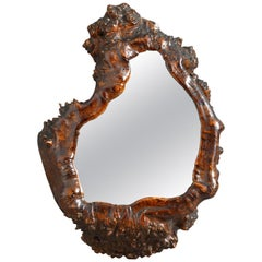 Rare and Unusual 19th Century Burr or Root-Work Grotto Mirror