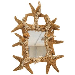 Rare and Unusual Composition, Mirror Decorated with Starfishes and Shells, 1950
