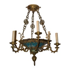 Rare and Unusual French Japonisme Champlevé Enamel Chandelier