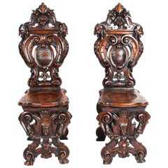 Antique Pair Carved Italian Walnut Sgabello Hall Chairs 19th C