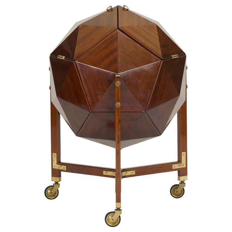Rare and Unusual Polyhedron Bar Cabinet by Vuillermoz For Sale