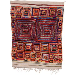 Rare and Unusual Vintage Abstract Moroccan Berber Azilal Rug