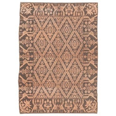 Rare and Unusual Vintage Sardinian Textured Rug in Blush Pink and Anthracite