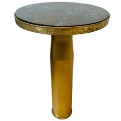 Rare and Unusual, WWII Brass Shell Casing Side Table, with Antique Mirror Top