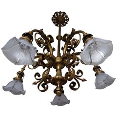 Seltene und Sehr Stilvolle Holophane Hängeleuchte aus Bronze und Messing