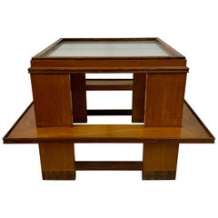 Rare Andre Sornay Frosted Glass Top and Exotic Wood Accent Table
