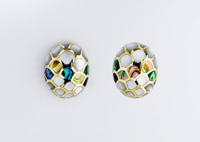 Contemporary  Angela Cummings Mother of Pearl and Abalone Earrings For Sale