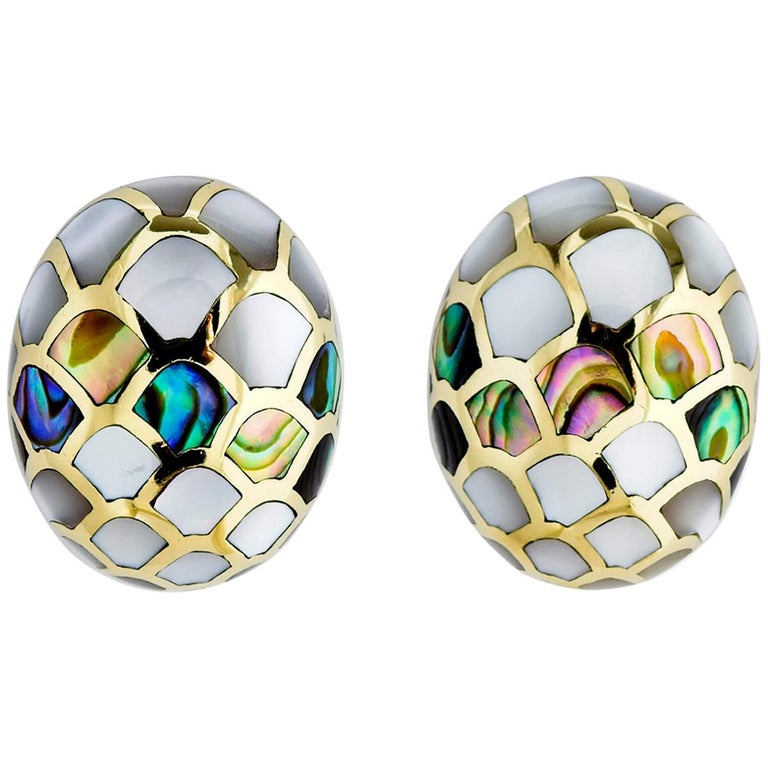 Angela Cummings Mother of Pearl and Abalone Earrings For Sale