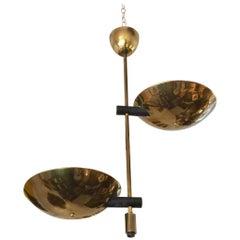 Rare Angelo Lelli Double Bowl Uplight Hanging Fixture
