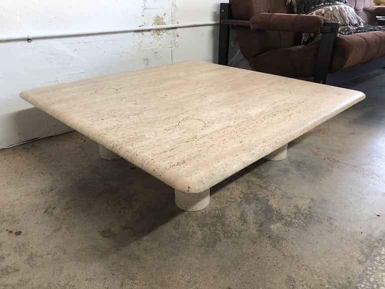 Rare Angelo Mangiarotti Travertine Coffee Table for Up&Up, Italy For Sale 4