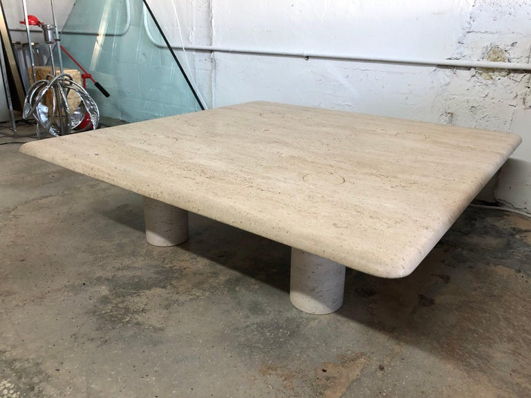 Rare Angelo Mangiarotti Travertine Coffee Table for Up&Up, Italy For Sale 5