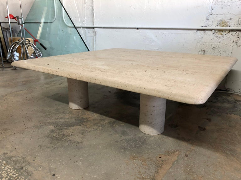 Rare Angelo Mangiarotti Travertine Coffee Table for Up&Up, Italy For Sale 7