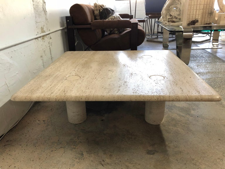 Organic Modern Rare Angelo Mangiarotti Travertine Coffee Table for Up&Up, Italy For Sale