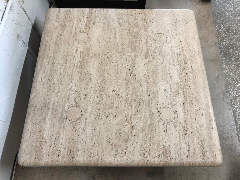 Italian Rare Angelo Mangiarotti Travertine Coffee Table for Up&Up, Italy For Sale