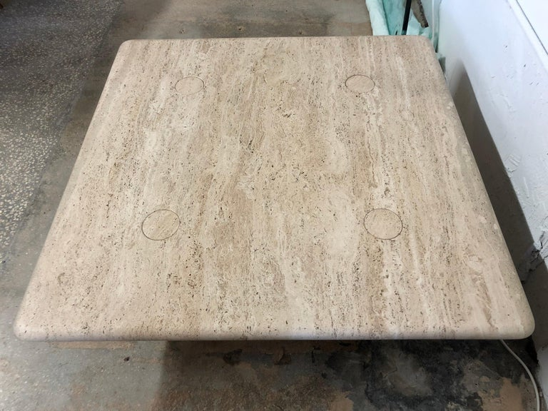20th Century Rare Angelo Mangiarotti Travertine Coffee Table for Up&Up, Italy For Sale
