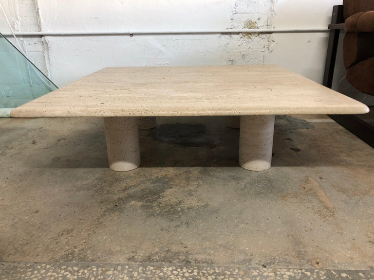 Rare Angelo Mangiarotti Travertine Coffee Table for Up&Up, Italy For Sale 2