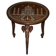 Rare Anglo-Indian Export Taj Mahal Elephant Hardwood Inlaid Side Lamp Wine Table