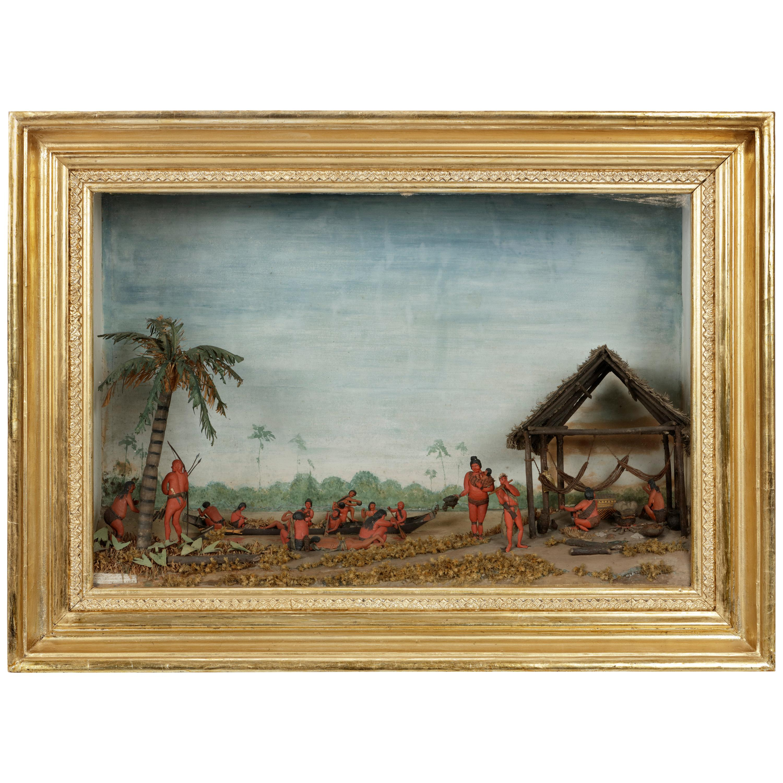 Rare Anthropological Diorama of Carib Indigenous by Hendrik Schouten