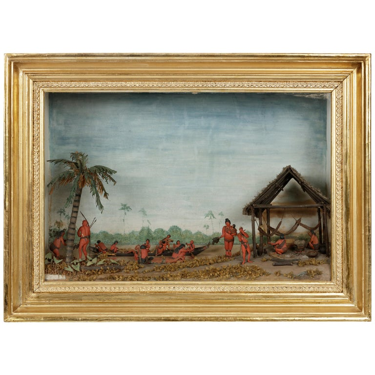 Rare Anthropological Diorama of Carib Indigenous by Hendrik Schouten For Sale