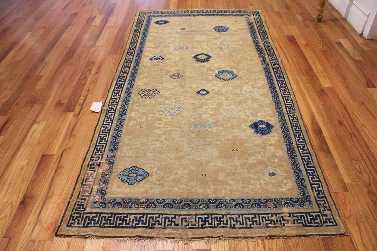 18th Century and Earlier Rare Antique 17th Century Chinese Ningsia Rug. Size: 4 ft 7 in x 9 ft  For Sale