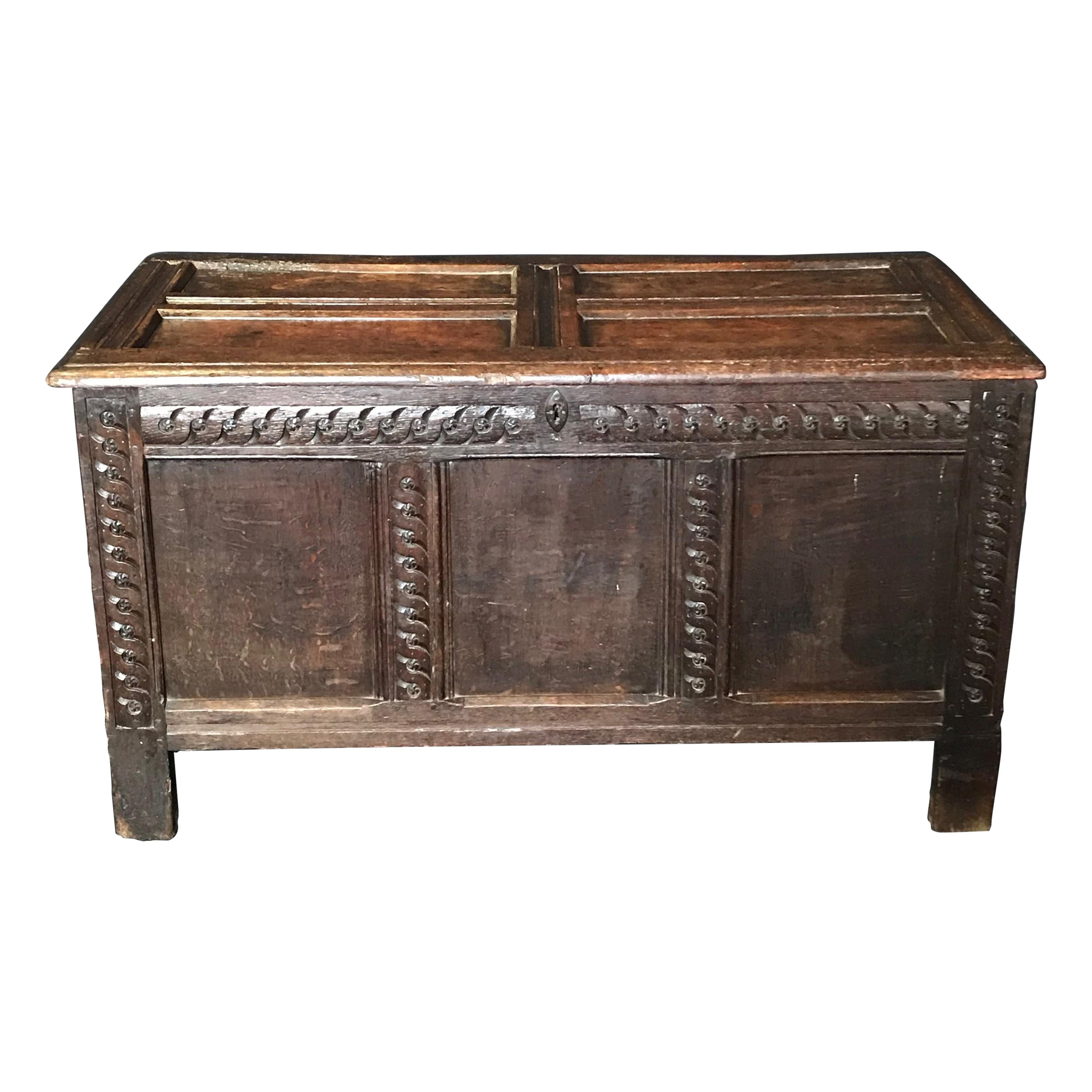 Rare Antique 18th Century Paneled and Carved Scottish Coffer Chest