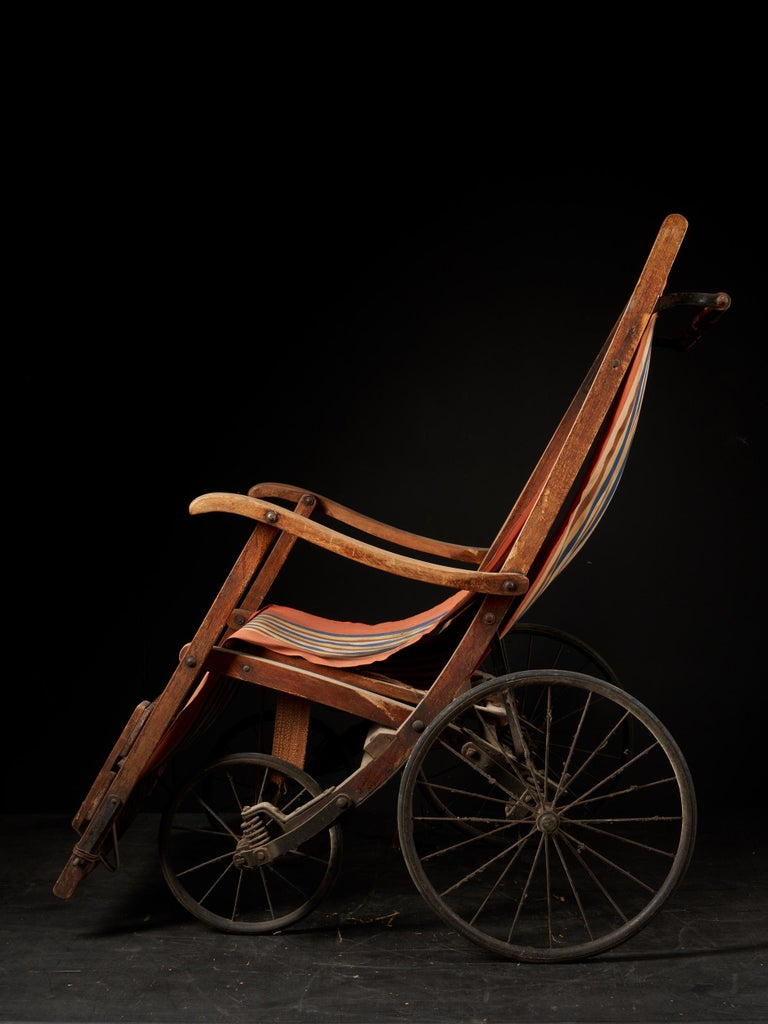 Fruitwood Rare Antique 4-Wheel Configuration Pushchair from Early 20th Century For Sale