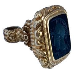 Rare Antique 9 Karat Gold Black Onyx Intaglio Fob / Pendant