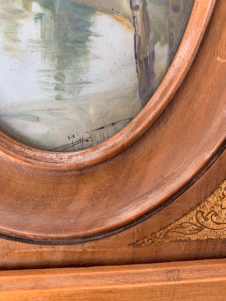 Rare Antique and Stylishly Handcrafted Beechwood Picture Frame with Painting For Sale 3