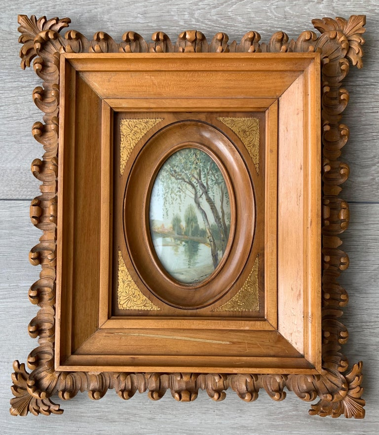 Rare Antique and Stylishly Handcrafted Beechwood Picture Frame with Painting For Sale 6