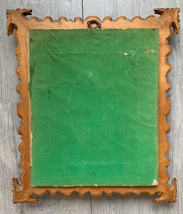 Rare Antique and Stylishly Handcrafted Beechwood Picture Frame with Painting For Sale 7