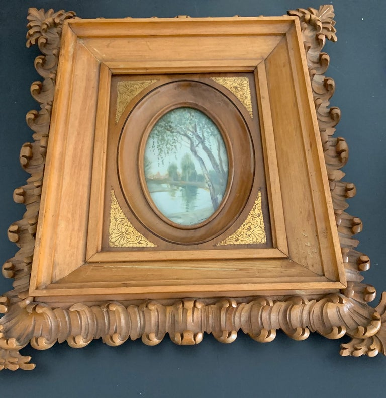 Rare Antique and Stylishly Handcrafted Beechwood Picture Frame with Painting For Sale 9