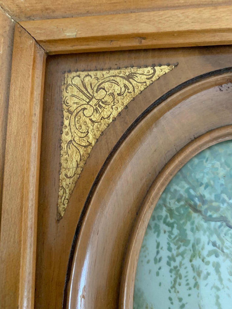 Rare Antique and Stylishly Handcrafted Beechwood Picture Frame with Painting For Sale 10