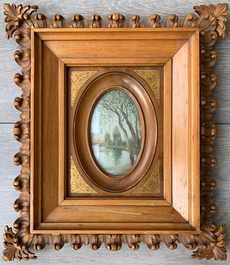 European Rare Antique and Stylishly Handcrafted Beechwood Picture Frame with Painting For Sale